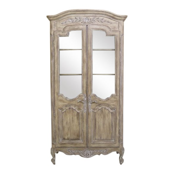 French Carved 2 Door Distressed Finish Curio China Cabinet