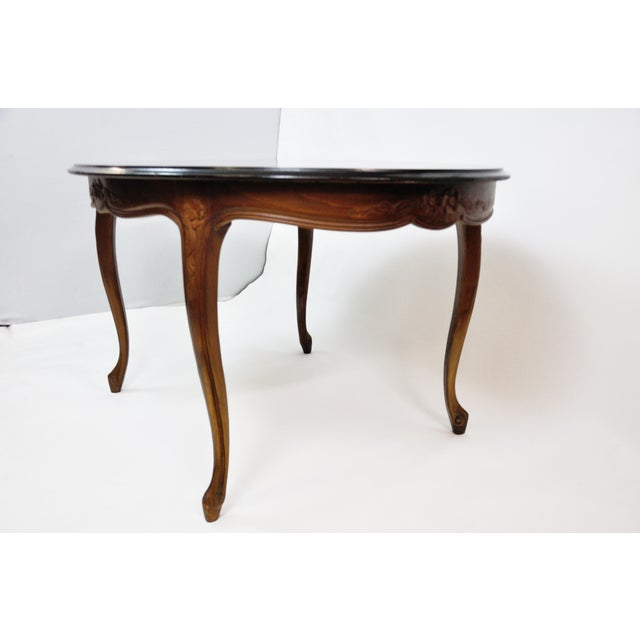 Vintage French Oval Queen Anne Cherry Wood Dining Table Circa 1960 For Sale - Image 4 of 13