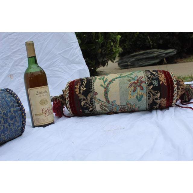 Contemporary Multicolored Floral Tapestry Bolster With Tassles and Cords For Sale In San Diego - Image 6 of 13
