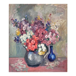 "Alberta Kinsey ""Still Life With Flowers"" Impressionist Oil Painting, 1920s For Sale"