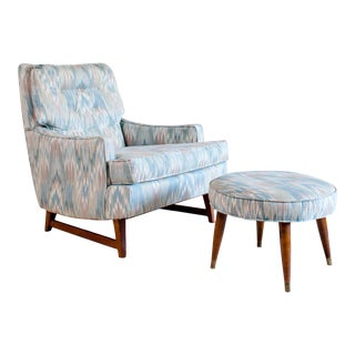 Mid Century Lawrence Peabody for Selig Upholstered Lounge Chair and Footstool For Sale