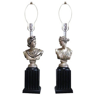 Neoclassical God and Goddess Pillar Table Lamps, Pair For Sale