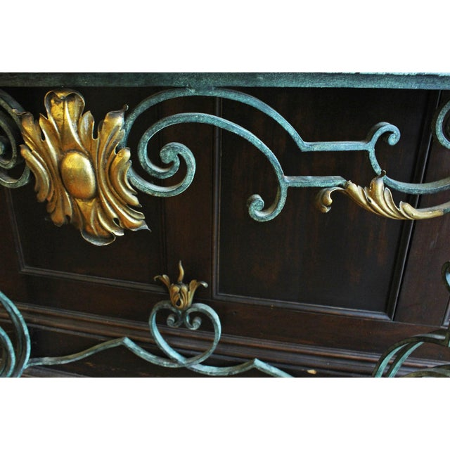 Iron Scrolled Iron Marble Top Console Table For Sale - Image 7 of 8