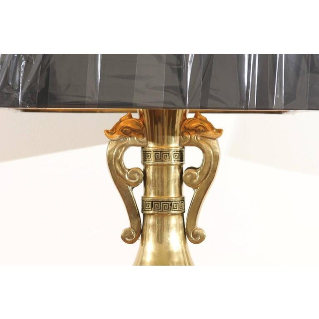Majestic Pair of Mid-Century Brass Lamps with Spectacular Helmet Style Base For Sale - Image 9 of 11