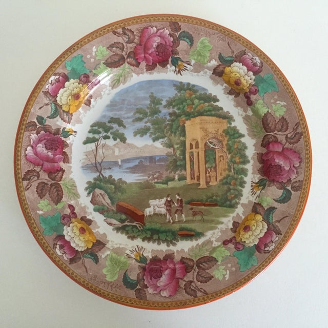 This antique Wedgwood multicolor transferware Neo Classical floral round ceramic plate is a very special and unique piece...