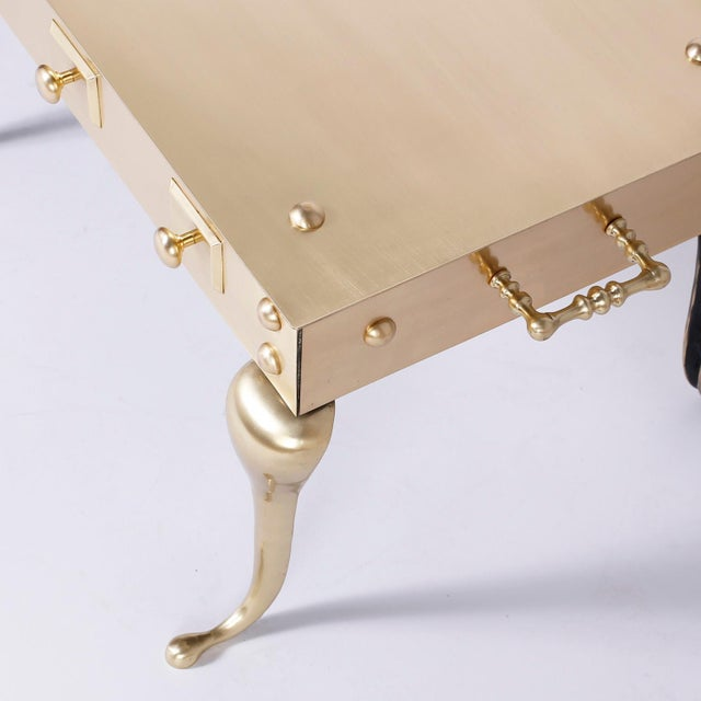 Mid 20th Century Midcentury Six Legged Brass Coffee or Cocktail Table For Sale - Image 5 of 9