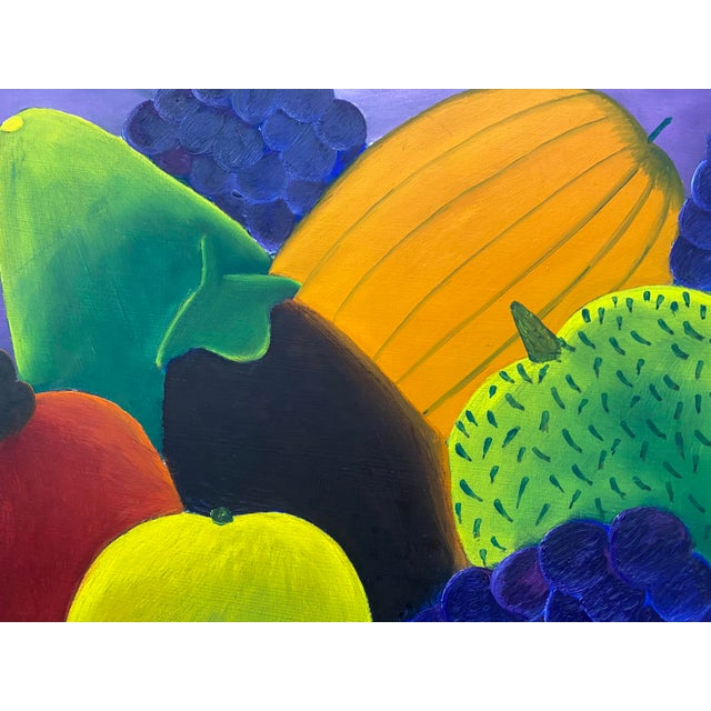"""Haitian Artist Alberoi Bazile """"Fruit"""" Still Life Oil Painting in Hand Carved Frame C.1970 For Sale - Image 9 of 13"""