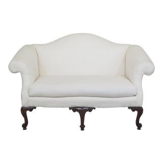 Georgian Style Carved Mahogany Loveseat For Sale