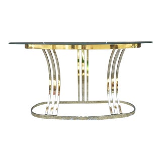 Milo Baughman DIA Brass & Glass Sofa Table For Sale