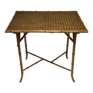 19th Century Hand Carved Faux Bamboo Table For Sale