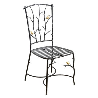 Old Faux Bois Chair With Birds on Branches, Manner of Giacometti For Sale