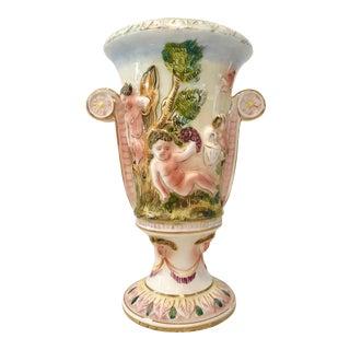 Vintage Hand-Painted Italian Ceramic Cherub Vase For Sale