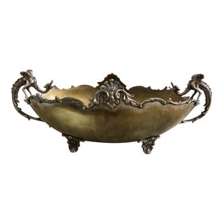 Silver and Brass Dragonbowl With Pedestal Feet For Sale