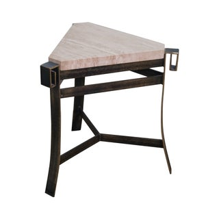 Travertine Top Triangle Iron Base Side Table For Sale