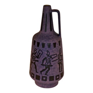 Jopeko, West Germany, Tall Vintage Lava Glaze Floor Vase With Gladiators. 1960s