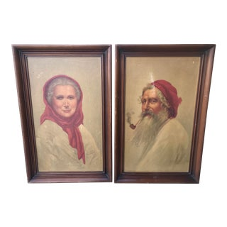 Vintage Sydney Bell the Contented Man and Old Woman of Capri Paintings - A Pair For Sale
