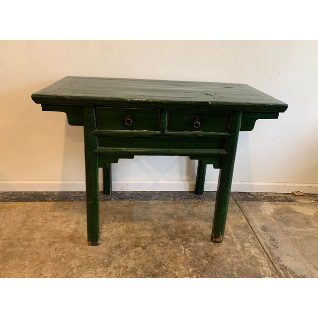 Vintage Asian Console Table in Green For Sale - Image 12 of 12