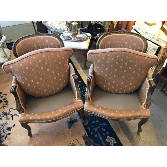 Early 20th Century Vintage Louis XV Style Walnut Bergere Chairs - A Pair For Sale - Image 9 of 10