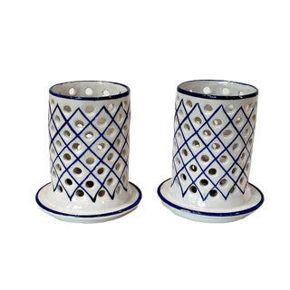 Vintage Hand Painted Blue & White Faience Candle Holders, Portugal - a Pair For Sale