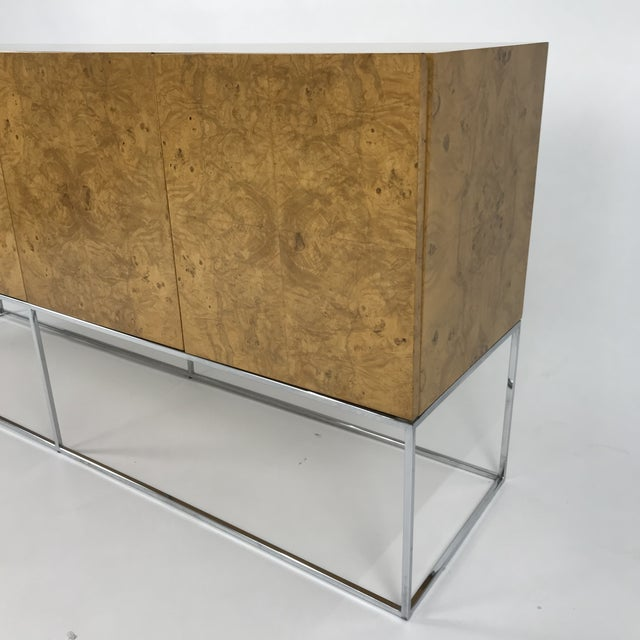 Olive Burl Credenza With Chrome Base Designed by Milo Baughman for Thayer Coggin For Sale - Image 12 of 13