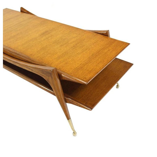 Sculptural Base Two Tier Mid Century Modern Coffee Table on Metal Ball Feet For Sale - Image 4 of 6