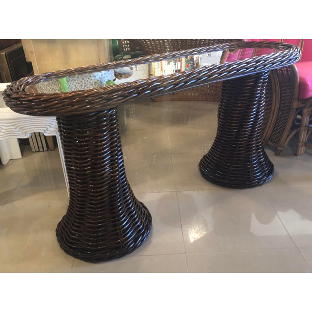 Brown Vintage Double Pedestal Braided Wicker Console Table For Sale - Image 8 of 12