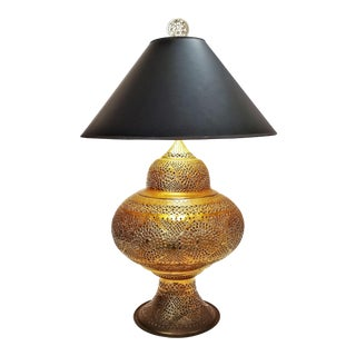 Extra-Large 1960's Vintage Solid Brass Moroccan Fretwork Table Lamp For Sale