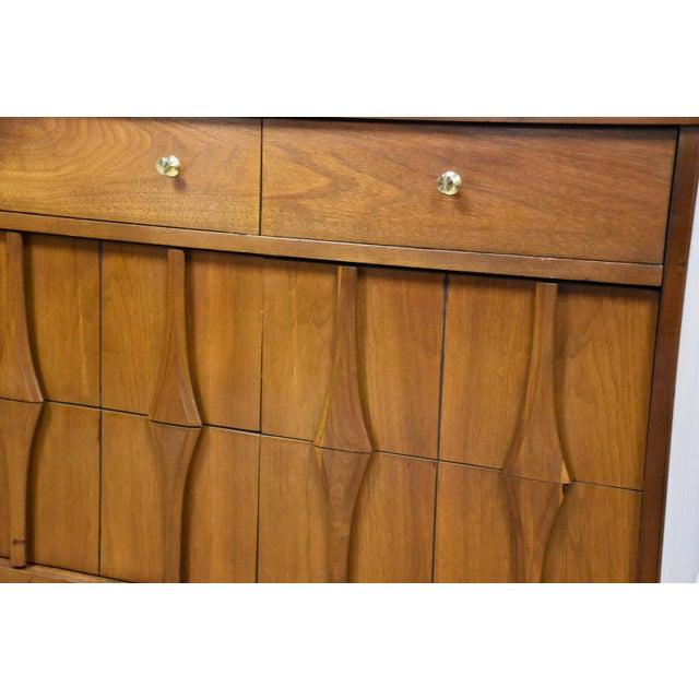 Brown Mid-Century Modern Sculpted Walnut Long Dresser For Sale - Image 8 of 10