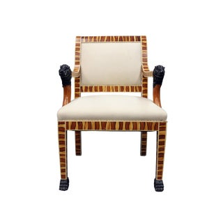 Vintage Mid Century Faux Wood Painted Arm Chair For Sale