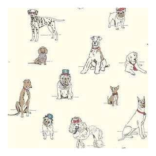Red Blue Fancy Dogs Prepasted Wallpaper Double Rolls For Sale