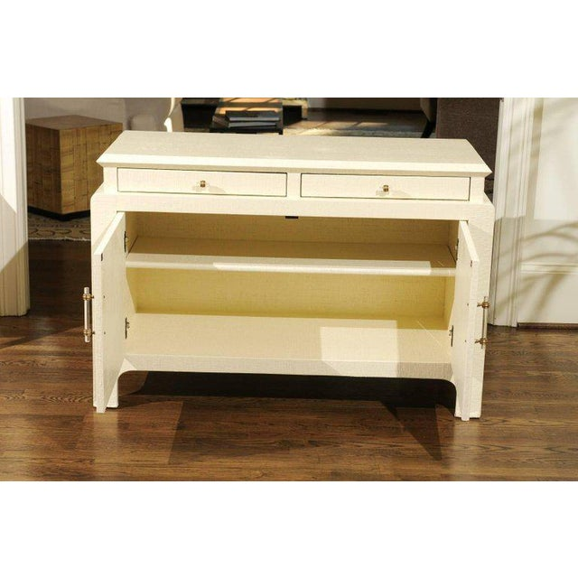 Modern Gorgeous Restored Raffia Cabinet by Harrison-Van Horn in Cream Lacquer For Sale - Image 3 of 11