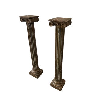 Italian Antique Gilt & Mirror Column Pedestals - A Pair