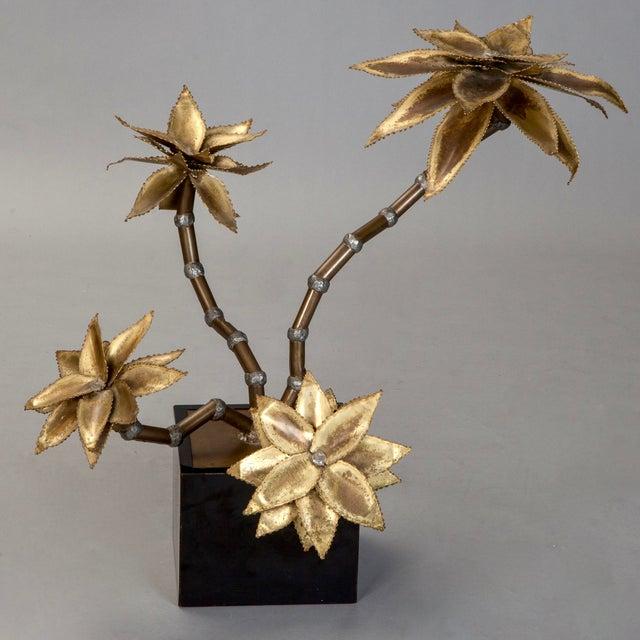 Mid-Century Brass Metal Flower Sculpture in Manner of Maison Jansen - Image 2 of 6