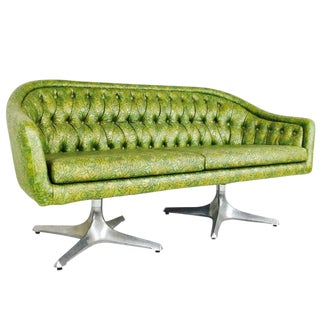 Groovy Double Pedestal Tufted Loveseat by Chromcraft For Sale