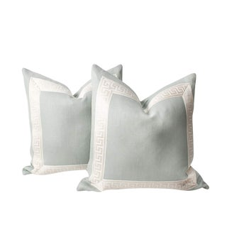 Mint Green and Ivory Linen Pillows, a Pair For Sale