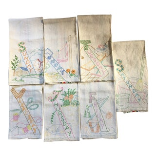 Vintage Shabby Chic Days of the Week Embroidered Linen Towels - 7 PIeces For Sale