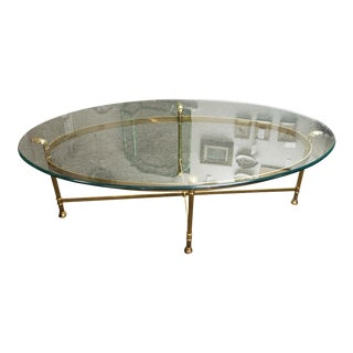 LaBarge Oval Brass and Glass Coffee Table For Sale