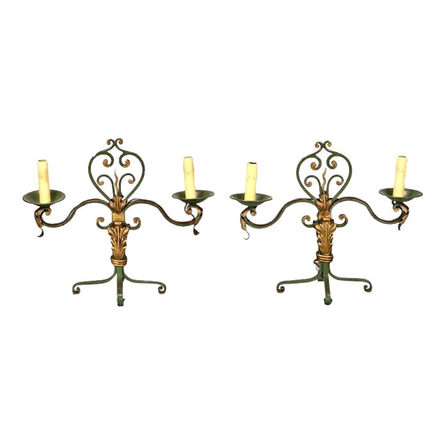 Pair French Gilt Metal Scroll Candelabra Table Lamps For Sale