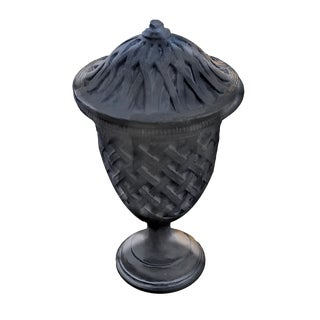 Cast Stone Lattice Pedestal Decorative Outdoor Urn With Lid in Aged Charcoal For Sale