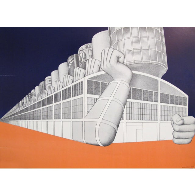 Contemporary 1973 Exhibition Poster, l'Usine Travail Et Architecture, Centre De Création Industrielle For Sale - Image 3 of 5