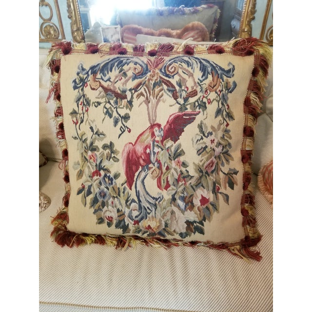Large Aubusson Style Parrot Pillow For Sale - Image 10 of 10