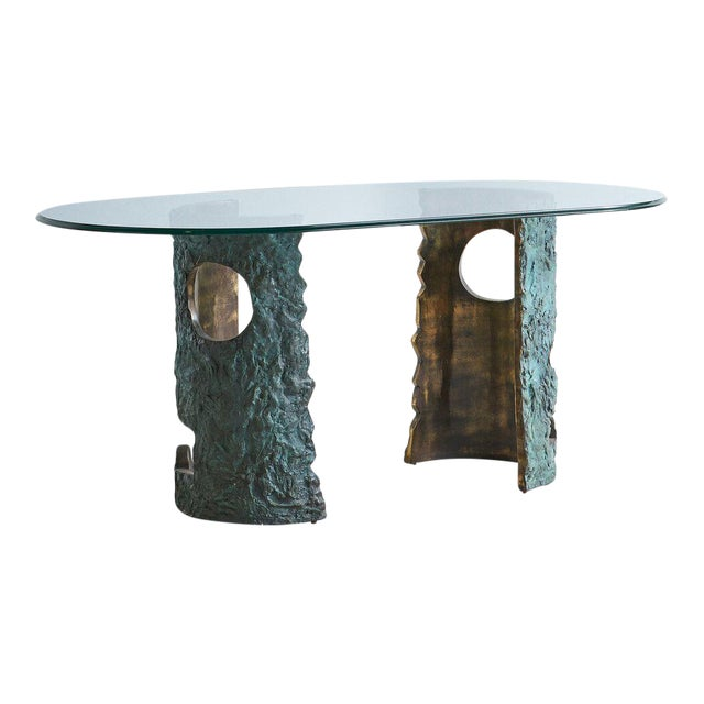 Bronze Brutalist Dining Table by Valenti Madrid For Sale