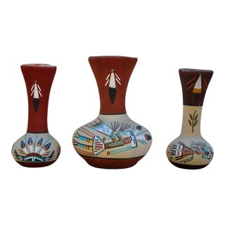 Navajo Sand Painted Ceramic Wall Vases - Set of 3 For Sale