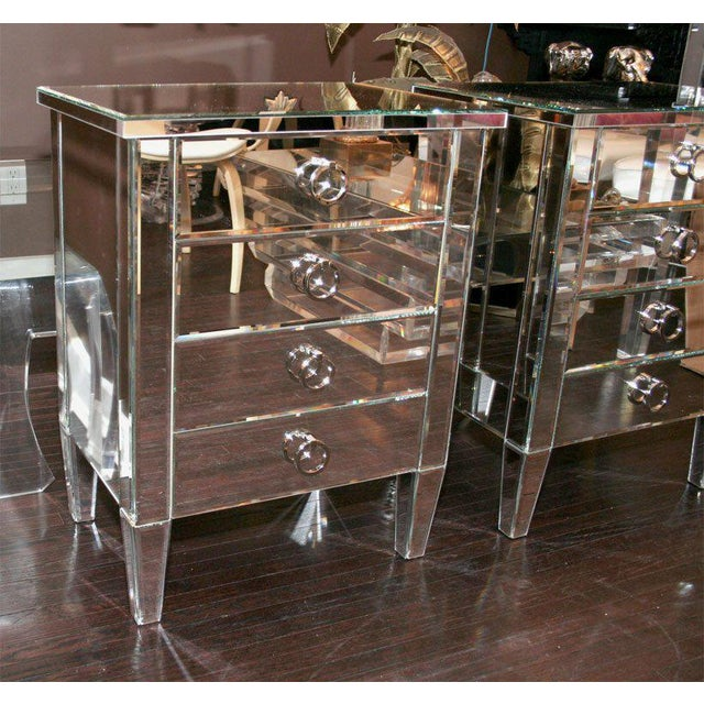 Modern Pair of Custom Mirrored End Tables For Sale - Image 3 of 9