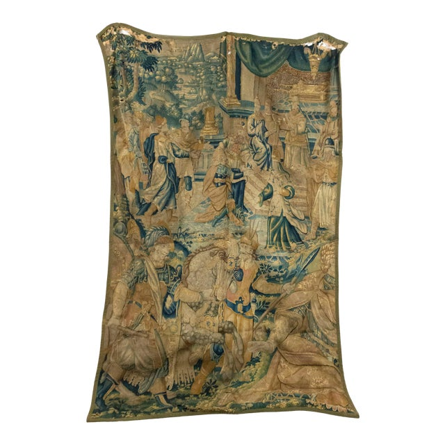 Antique Late 17th/Early 18th Century Belgian Tapestry Depicting Soldiers in a Genre Scene For Sale