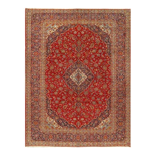 Red Semi Antique Persian Hand Knotted Fine Kashan 10' X 13'8'' For Sale