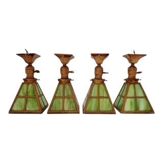 1920s Arts & Crafts Pyramidal Hanging Pendant Green Slag Glass Light Fixtures - Set of 4 For Sale