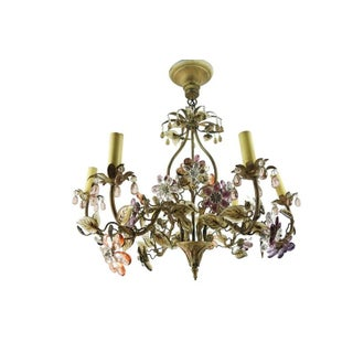 1940s Vintage Hollywood Regency Period Maison Bagues Crystal Flowered Chandelier Preview