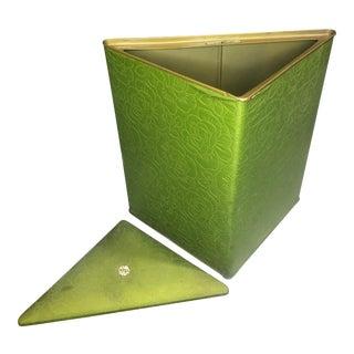 Vintage Modern Avocado Green Triangle Corner Laundry Hamper by House of Fiske For Sale