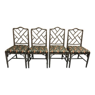 Vintage Chinese Chippendale Faux Bamboo Dining Chairs- Set of 4 For Sale